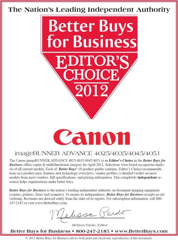 Canon Earns BBB Editor's Choice