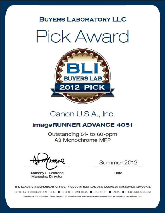 Canon Wins Buyers Laboratory 2012 Pick Award for imageRUNNER Advance 4051